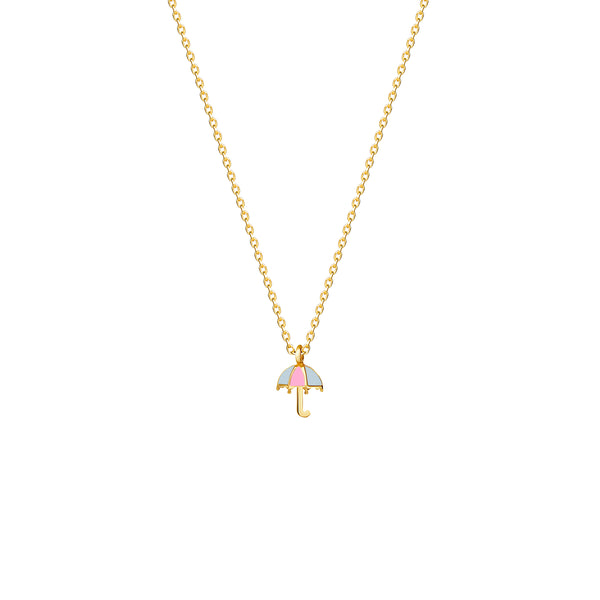 Our playful 14 karat gold necklace for girls features an umbrella with enamel hand-painting in blue and rosé.