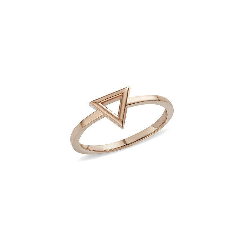 This handmade 14 karat gold ring features a geometrical design with a pure gold triangle. Wear this ring alone or team with our Triangle Necklace and Bracelet from the Gold Essentials Collection.