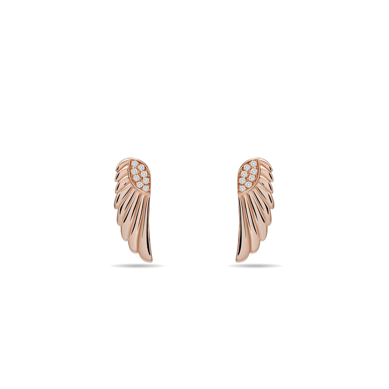 rosegold earrings. These magical and enchanting diamond earring studs are made of 14 karat gold with a handset diamond pavé. Inspired by the wings of a goddess, its glowing gold and diamonds will brighten your day.