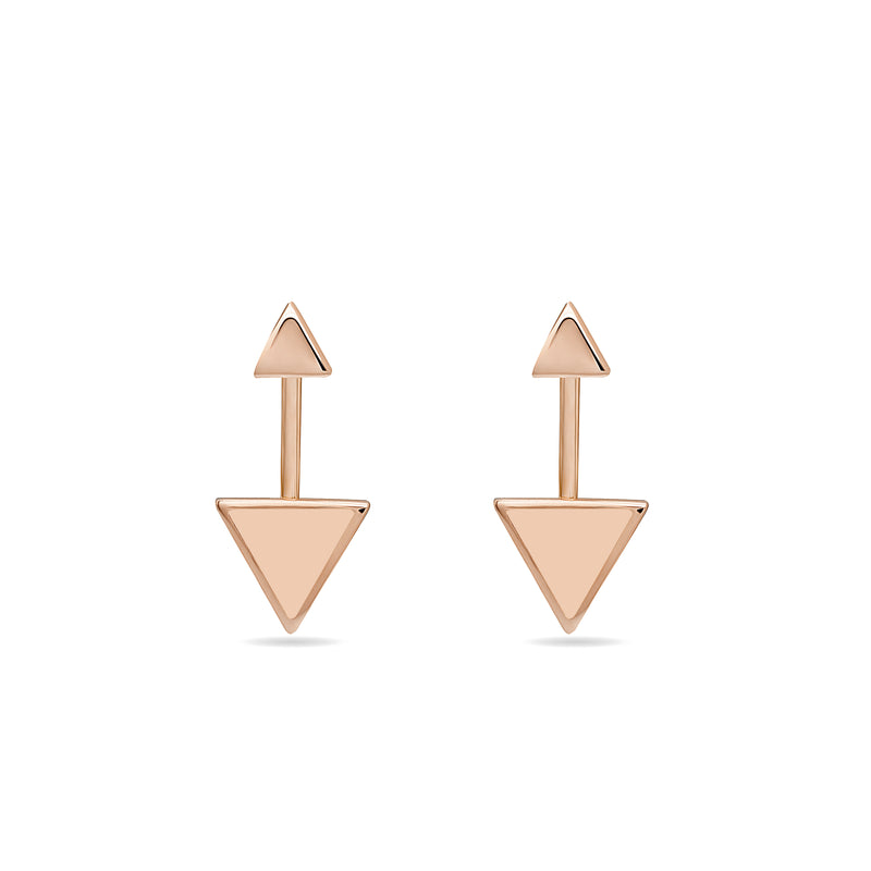 rose gold earrings. Two piece 14 karat gold earrings inspired by the symbol of the arrow. These earrings are really fine, original and elegant.