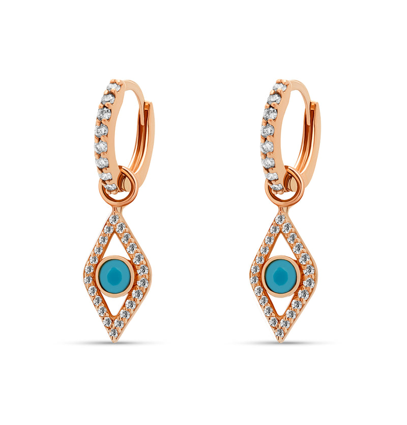 Two pairs of earrings in one! The 14 karat gold Evil Eye Turquoise Huggies feature handset diamonds and a turquoise gemstone.  rosegold diamond earrings