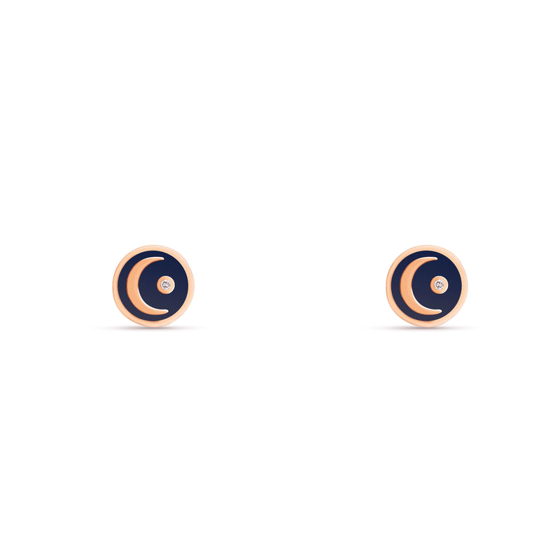 These handmade 14 karat gold diamond earring studs are the perfect every day gold accessory. The stud earrings feature a hand-painted blue enamel with a moon and a shining diamond star. rosegold moon earring