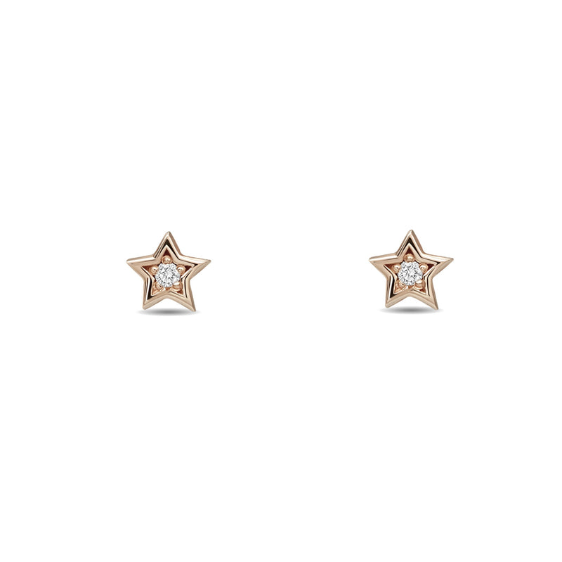 A little piece of the universe. Our 14 karat gold diamond star earring studs are petite and sparkly. rosegold star earring
