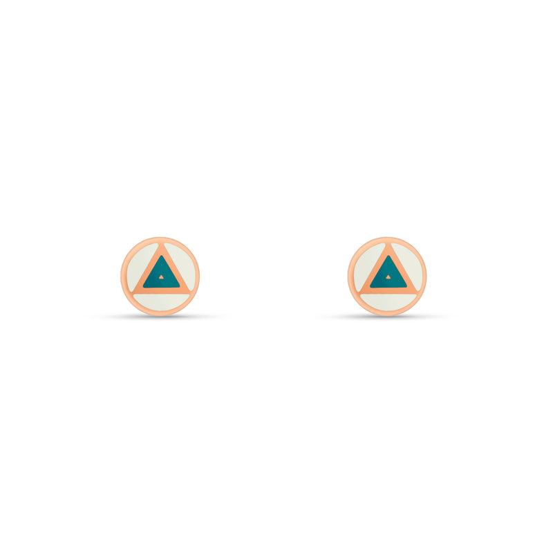 Enamel Triangle Stud Earrings - 14 karat gold, handpainted Enamel