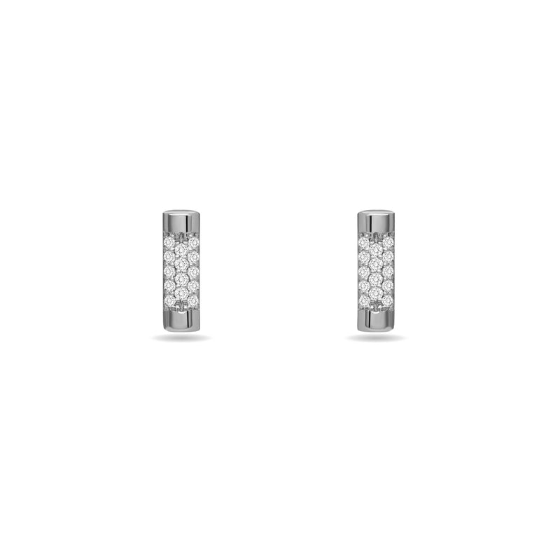 white gold diamond earring. Glamour and simplicity. Our Bar Stud Earrings in 14K gold feature handset diamond pave.