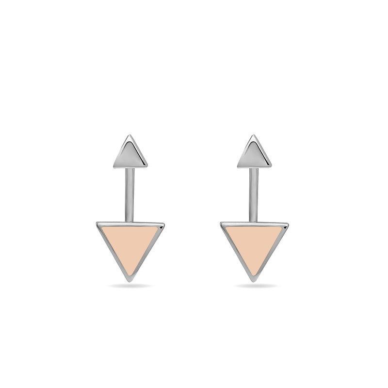 White gold earrings. Two piece 14 karat gold earrings inspired by the symbol of the arrow. These earrings are really fine, original and elegant.