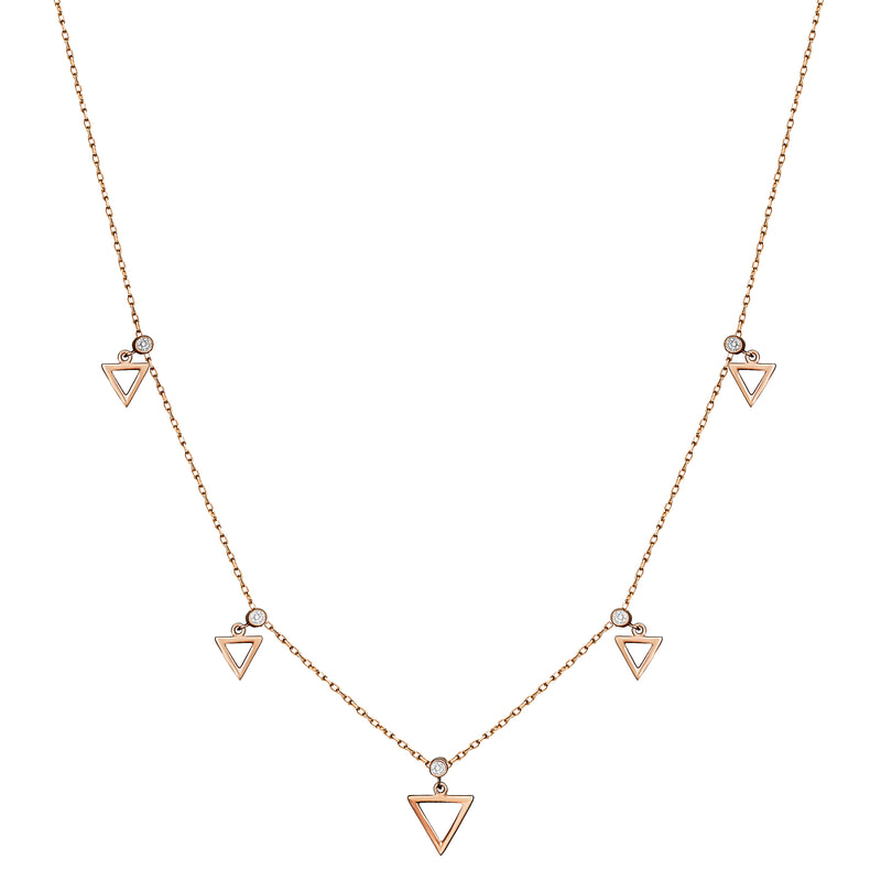 This 14 karat gold necklace features five white bezel-set sapphire stones with dangling gold triangle charms.