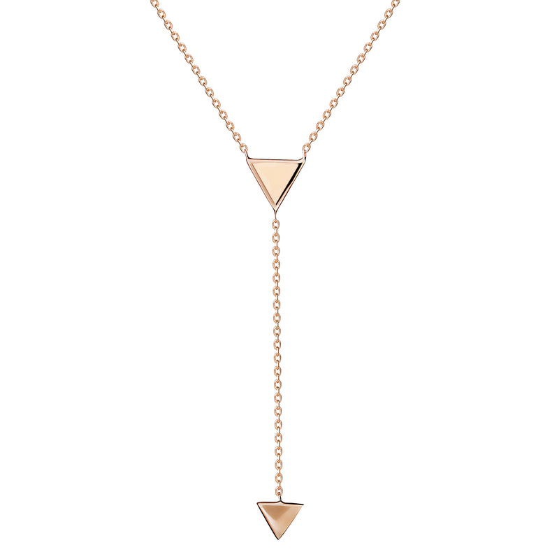 This handmade 14 karat gold necklace features hand painted enamel in our favourite rose colour. Delicate yet captivating this fine jewellery piece can be worn all day and all night.  Wear the Y necklace on bare skin and combine it with the matching earrings or ring.