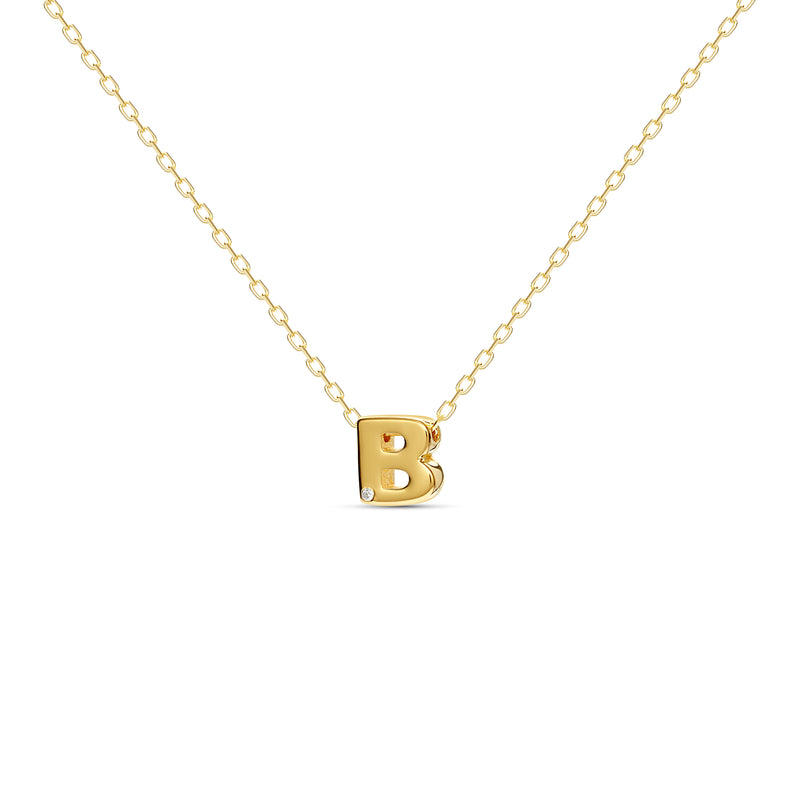 "A 18 karat gold vermeil necklace with your initial letter ""B"". This diamond letter necklace is a special jewelry necklace that can be worn day and night. A genuine diamond stone in the corner of the letter makes this gold diamond necklace a luxury and ideal gift for yourself, your best friend or loved one."
