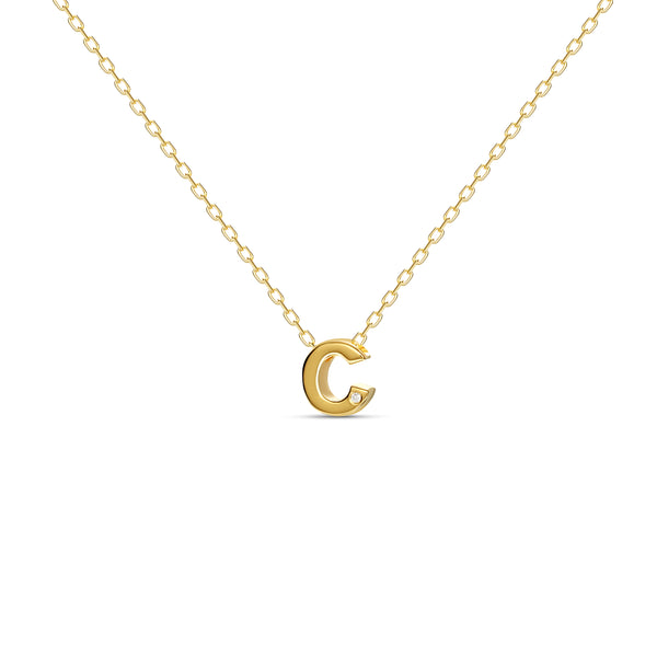 "A 18 karat gold vermeil necklace with your initial letter ""C"". This diamond letter necklace is a special jewelry necklace that can be worn day and night. A genuine diamond stone in the corner of the letter makes this gold diamond necklace a luxury and ideal gift for yourself, your best friend or loved one."