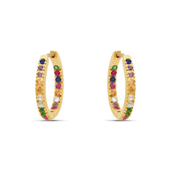 Rainbow Hoop Earrings - 18 karat gold vermeil on sterling silver, zirconia stones