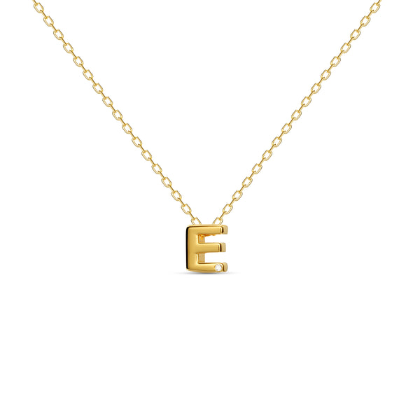 "A 18 karat gold vermeil necklace with your initial letter ""E"". This diamond letter necklace is a special jewelry necklace that can be worn day and night. A genuine diamond stone in the corner of the letter makes this gold diamond necklace a luxury and ideal gift for yourself, your best friend or loved one."