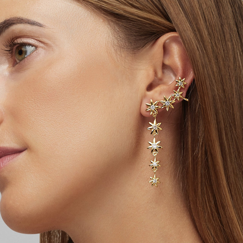 A bouquet of flowers falling on one side of your ear. These flower earrings are an extravagant unique piece that adorns every woman. The cuff on the mid ear makes the earring sit perfectly and securely. The other earring is a small flower earring stud making this piece an absolute eye catcher.