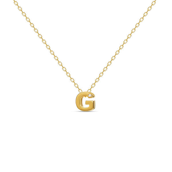 "A 18 karat gold vermeil necklace with your initial letter ""G"". This diamond letter necklace is a special jewelry necklace that can be worn day and night. A genuine diamond stone in the corner of the letter makes this gold diamond necklace a luxury and ideal gift for yourself, your best friend or loved one."