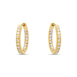 Zirconia Hoop Earrings - 18 karat gold vermeil on sterling silver, zirconia stones