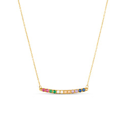 A fun and colorful necklace with a classic design. This necklace loves to be layered with other gold necklaces but is also a statement worn by itself. Team this necklace with the Rainbow Hoops.