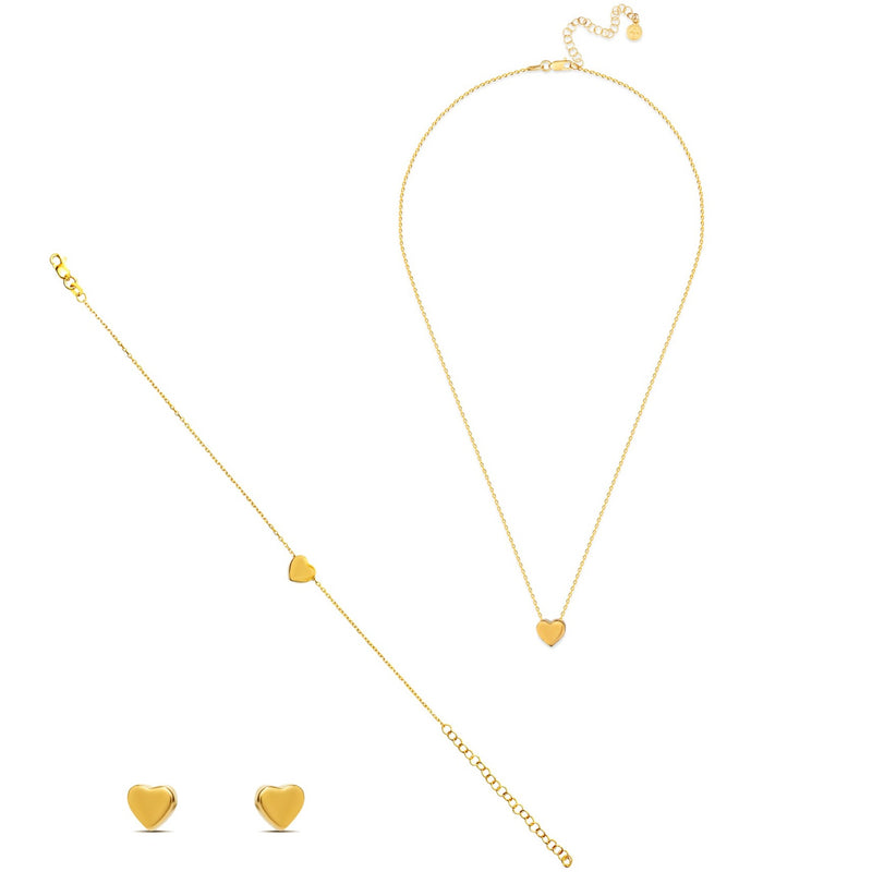 Heart Jewellery set - 18 Karat Gold Vermeil