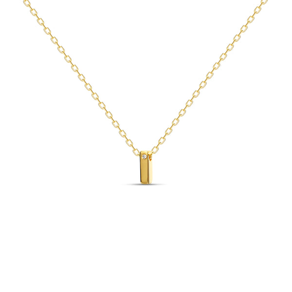 "A 18 karat gold vermeil necklace with your initial letter ""I"". This diamond letter necklace is a special jewelry necklace that can be worn day and night. A genuine diamond stone in the corner of the letter makes this gold diamond necklace a luxury and ideal gift for yourself, your best friend or loved one."