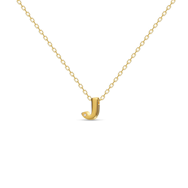 "A 18 karat gold vermeil necklace with your initial letter ""J"". This diamond letter necklace is a special jewelry necklace that can be worn day and night. A genuine diamond stone in the corner of the letter makes this gold diamond necklace a luxury and ideal gift for yourself, your best friend or loved one."