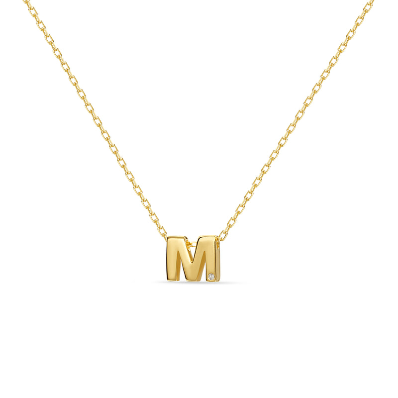 M Letter Necklace 18 Karat Gold