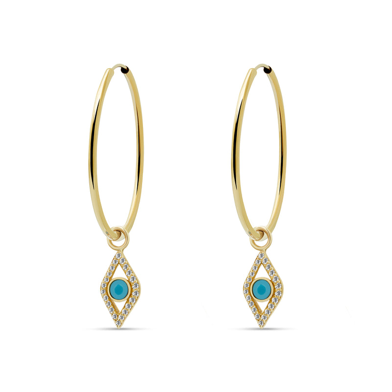 Evil Eye Diamond Turquoise Hoops - 14K Gold, Diamonds 0.23ct, Turquoise 0.1ct