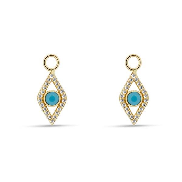 Evil Eye Diamond Turquoise Charms for Hoops - 14 karat gold, diamonds 0.23ct, turquoise 0.1ct