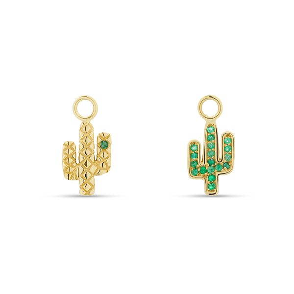 Cactus Emerald Charms for Hoops - 14 karat gold, emerald gemstone 0.3ct