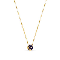Enamel Moon Diamond Necklace - 14 karat gold, diamond 0.02ct, handpainted Enamel