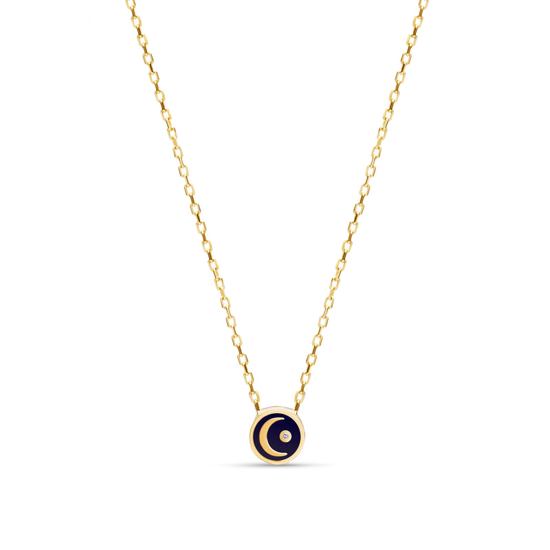 Enamel Moon Diamond Necklace - 14 Karat Gold, Diamond 0,02ct, handpainted Enamel