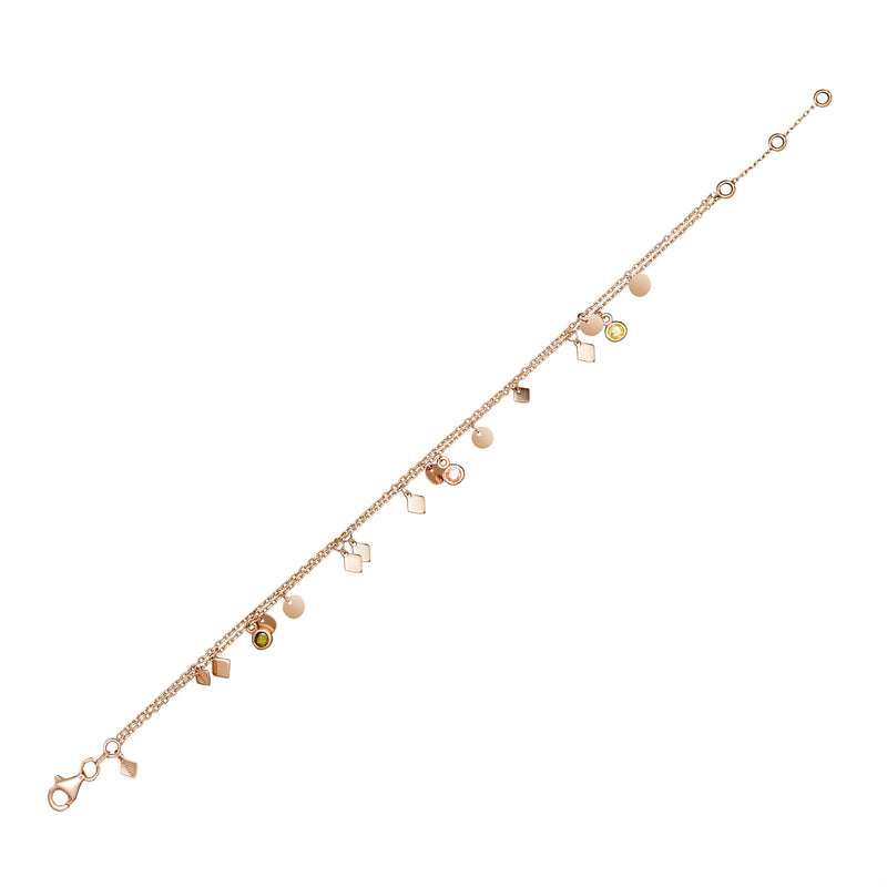 Rose Gold. This double chain 14 karat gold ankle bracelet is one of our bestsellers!  The double chain anklet with all its shimmer, colours and little charms will accompany you with every step you take.