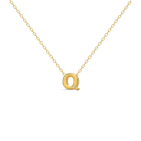 "A 18 karat gold vermeil necklace with your initial letter ""Q"". This diamond letter necklace is a special jewelry necklace that can be worn day and night. A genuine diamond stone in the corner of the letter makes this gold diamond necklace a luxury and ideal gift for yourself, your best friend or loved one."