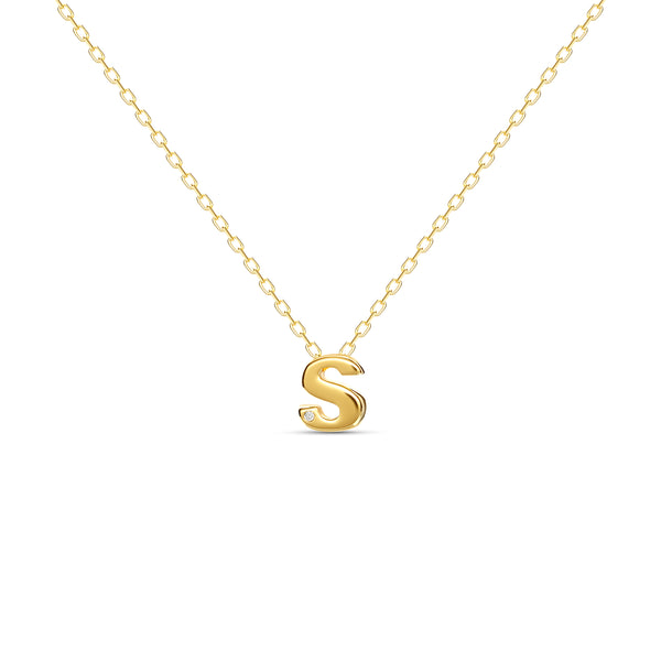 "A 18 karat gold vermeil necklace with your initial letter ""S"". This diamond letter necklace is a special gold necklace that can be worn day and night. A genuine diamond stone in the corner of the letter makes this gold diamond necklace a luxury and ideal gift for yourself, your best friend or loved one."