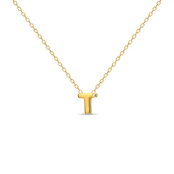 "A 18 karat gold vermeil necklace with your initial letter ""T"". This diamond letter necklace is a special gold necklace that can be worn day and night. A genuine diamond stone in the corner of the letter makes this gold diamond necklace a luxury and ideal gift for yourself, your best friend or loved one."