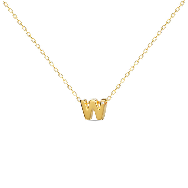 "A 18 karat gold vermeil necklace with your initial letter ""W"". This diamond letter necklace is a special gold necklace that can be worn day and night. A genuine diamond stone in the corner of the letter makes this gold diamond necklace a luxury and ideal gift for yourself, your best friend or loved one."
