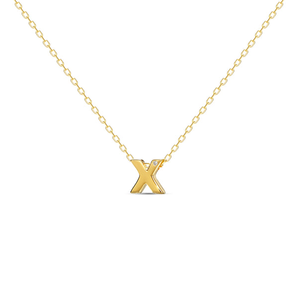 "A 18 karat gold vermeil necklace with your initial letter ""X"". This diamond letter necklace is a special gold necklace that can be worn day and night. A genuine diamond stone in the corner of the letter makes this gold diamond necklace a luxury and ideal gift for yourself, your best friend or loved one."