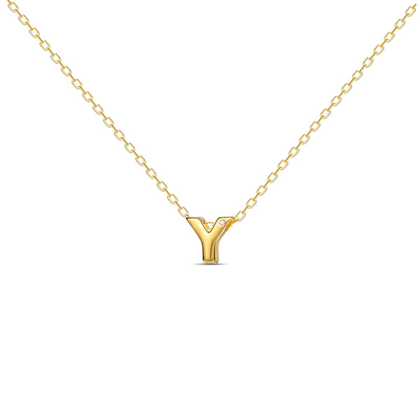 "A 18 karat gold vermeil necklace with your initial letter ""Y"". This diamond letter necklace is a special gold necklace that can be worn day and night. A genuine diamond stone in the corner of the letter makes this gold diamond necklace a luxury and ideal gift for yourself, your best friend or loved one."