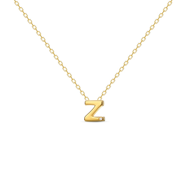 "A 18 karat gold vermeil necklace with your initial letter ""Z"". This diamond letter necklace is a special gold necklace that can be worn day and night. A genuine diamond stone in the corner of the letter makes this gold diamond necklace a luxury and ideal gift for yourself, your best friend or loved one."