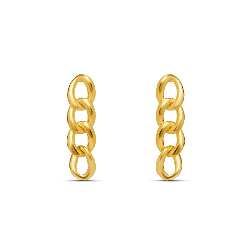 The unique gold vermeil chunky earrings are so en vogue. Wear these gold earrings with a T-shirt or a blazer to compliment your elegance and style.  Team these earrings with the Chunky Necklace & Bracelet.