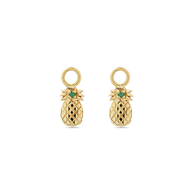 Pineapple Charms for Hoops - 14 karat gold, sapphire 0.03 ct
