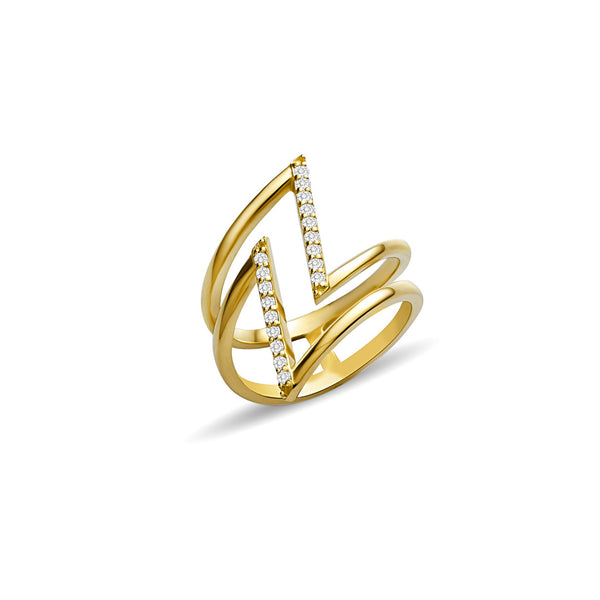 Diamond Thunder Bolt Ring - 14 karat gold ring for women, diamonds 0.22ct