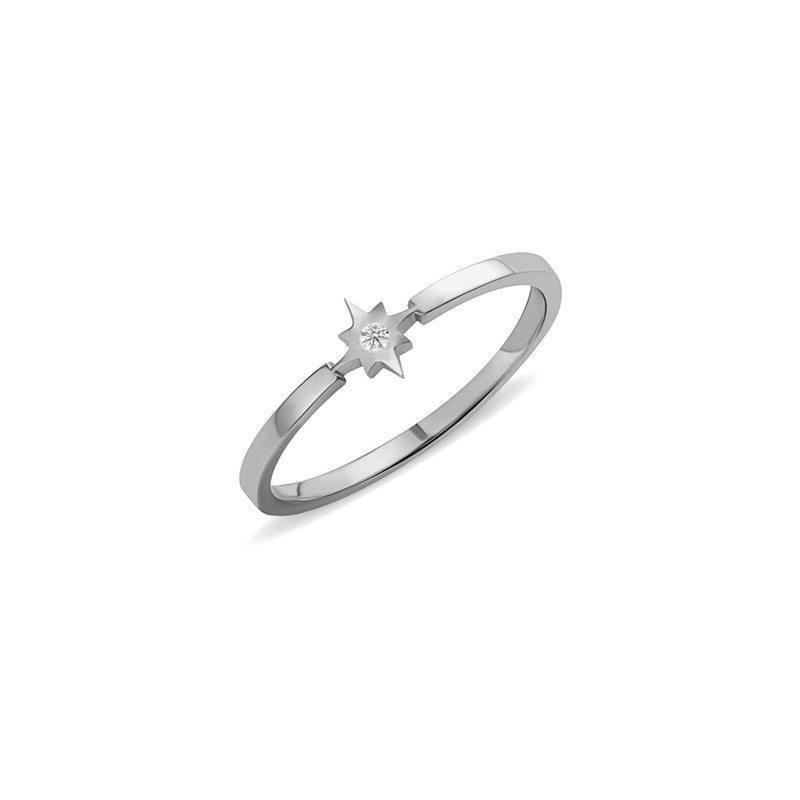 Diamond Star Ring - 14 karat gold ring for women, diamonds 0.01ct