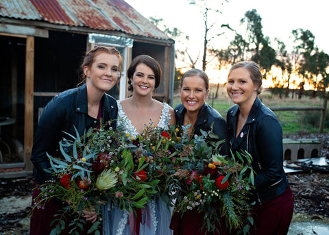 Rustic all Native, foliage filled bridal bouquets Geelong Wedding