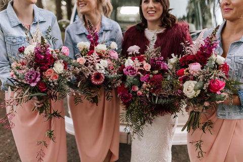 Moody Bridesmaids and Bridal Bouquet featuring Roses, Native Flowers and Pinks. Geelong and Melbourne Wedding