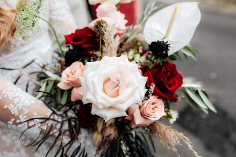 Deep, rich and moody and nudes Bridal Bouquet with plenty of Roses and Black Foliage. Melbourne Wedding and Geelong