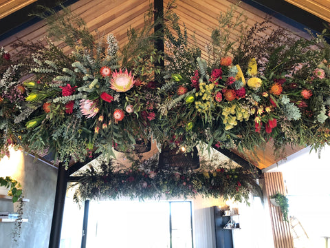 Launch Event Roof Installation at Lon Retreat at Point Lonsdale Wedding and Event Flowers by Lustre Blooms