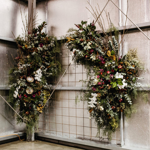 Winery Event wall fresh flower installation for Weddings and Events in Geelong and Melbourne by Lustre Blooms