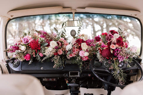 The perfect Kombi Flower Dashboard Wedding flowers geelong and Melbourne by Lustre Blooms