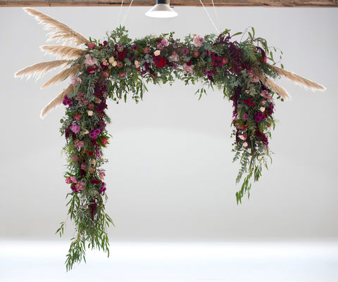 Wedding Ceremony Floating Arbour Installation in Photography Warehouse Geelong and Melbourne by Lustre Blooms