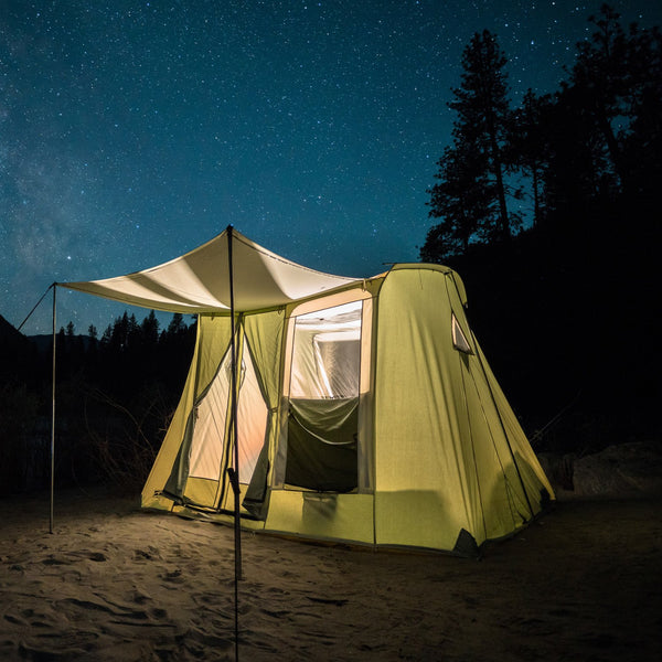 Springbar Highline 6 canvas tent at night