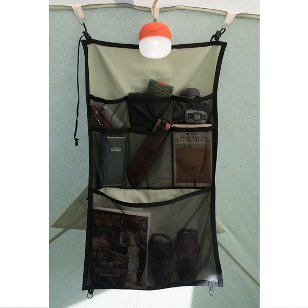 springbar hanging organizer in canvas tent
